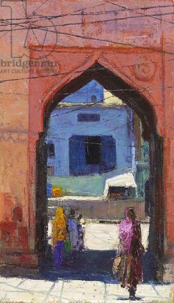 Gate, Jodphur, 2017, (oil on panel)