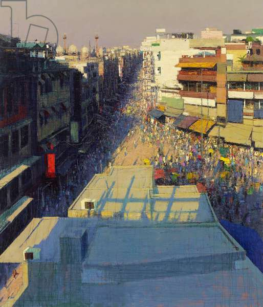 Paharganj Bazar, Delhi, 2017 (oil on canvas)