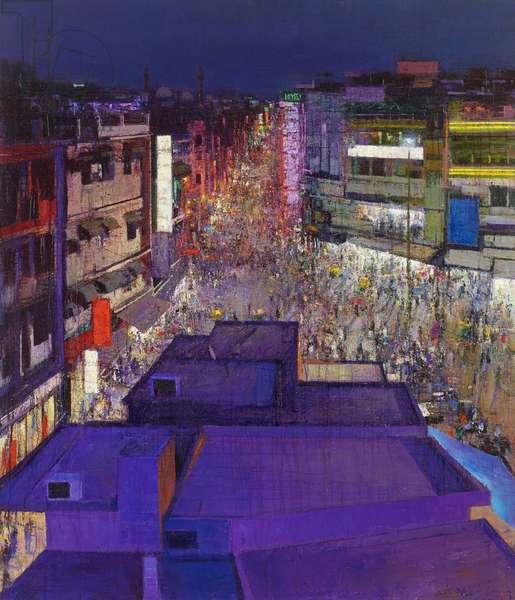 Paharganj Main Bazaar II, Delhi, 2017 (oil on canvas)