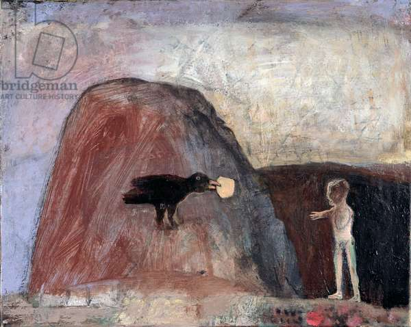 Elijah Fed by a Raven in the Desert I, 1991 (oil on canvas) (see also 188301)