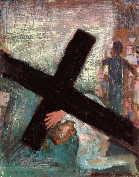 Jesus Falls under the Cross, 1987 (oil on board)