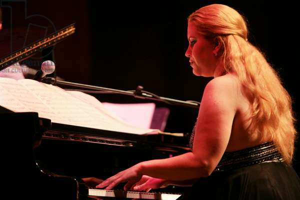 Ariacne Trujillo on piano at Afro-Cuban Fiesta