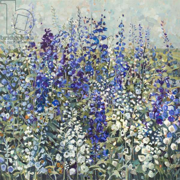 Delphiniums, 2017, (oil on canvas)