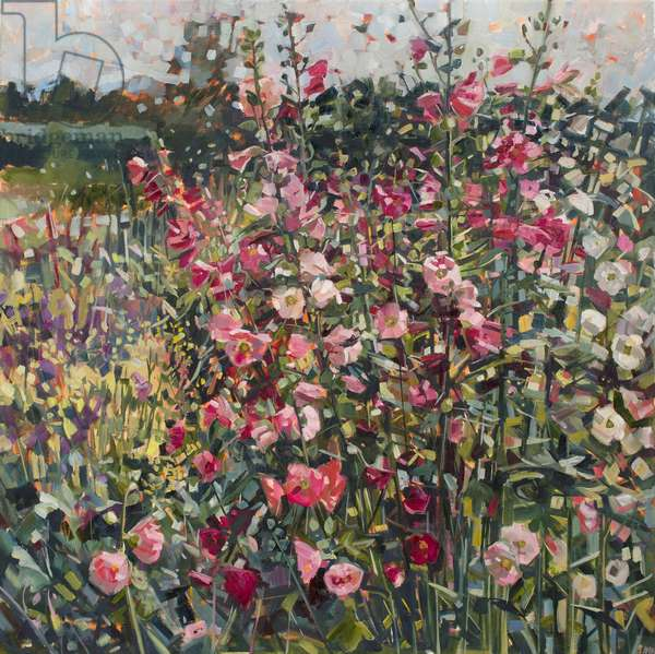 June Garden (Hollyhocks), 2016, (oil on canvas)