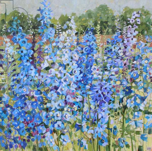 Blue Delphiniums, 2017 (oil on linen)