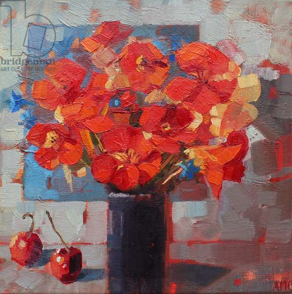 Nasturtiums, 2016, (oil on linen)