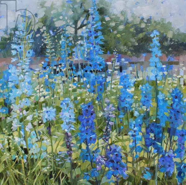Walled Garden (Delphiniums), 2018, (oil on linen)