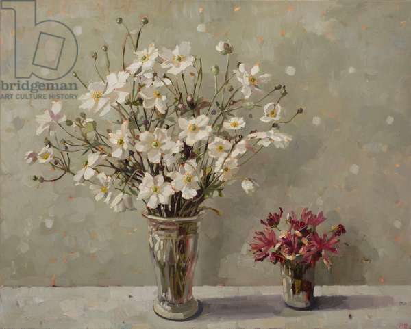 Japanese Anemones and Honeysuckle, 2015 (oil on linen)