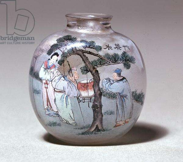 Snuff bottle, 1917 (glass & jade)