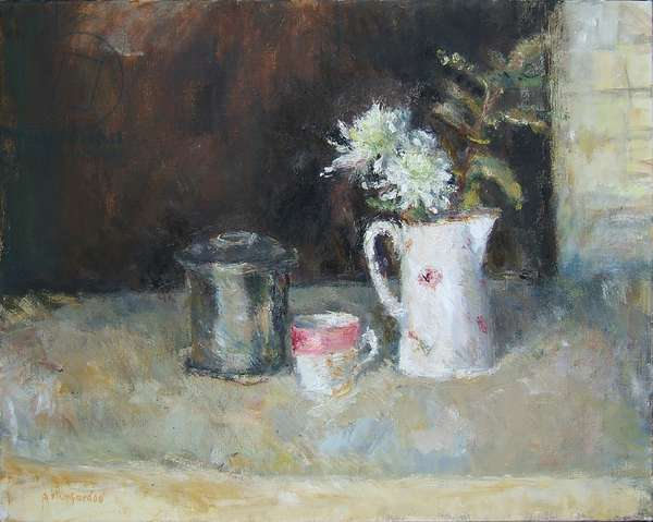 The Silver Tea Caddy and White Jug, 2004 (oil on canvas)