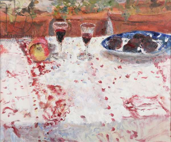 Red Wine, Ripe Plums and the Indian Cloth, 2004 (oil on canvas)