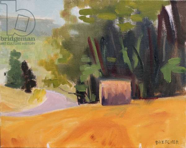 Hay Bale in Field, 2012, (oil on canvas)