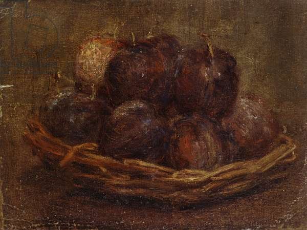 A Basket of Plums, 1869 - 1869 (oil on canvas, mounted as a drawing)