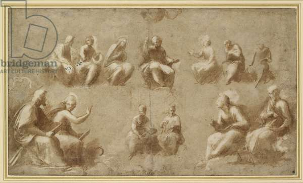 Christ and the Saints in Glory (Study for the Disputa) (brush drawing in brown ink)
