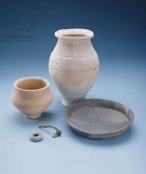 Beaker, platter, pot, brooch and bead: grave goods from a woman's grave at Watlington, Oxfordshire, late Iron Age