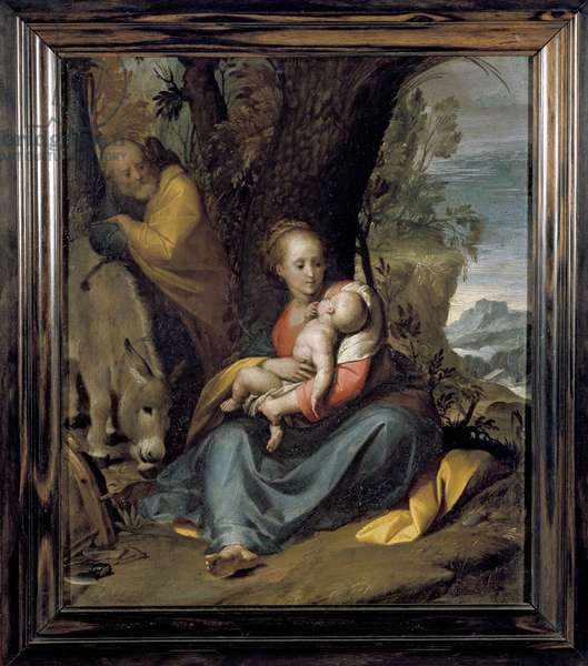 The Rest on the Flight into Egypt, 17th century (oil on copper)