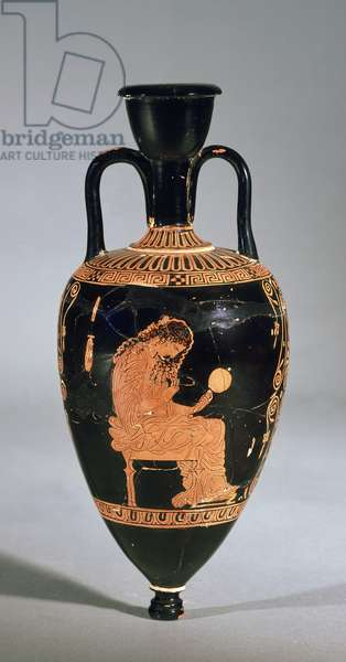 Amphoriskos depicting a seated woman doing her hair, holding a mirror (ceramic)