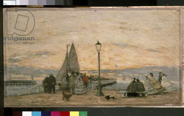 The Jetty at Trouville: Sunset, 1864 (oil on panel)