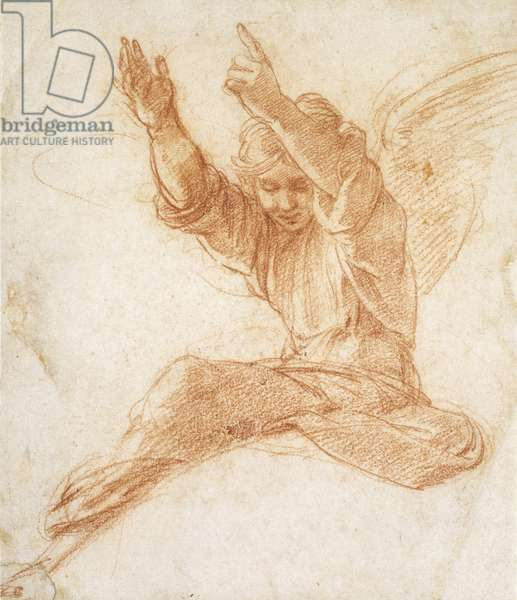 An Angel (red chalk on off-white paper)