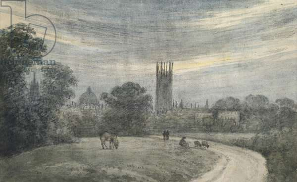 The entrance to Oxford from London, from recollection, 16 July 1790 (watercolour over graphite, on paper)