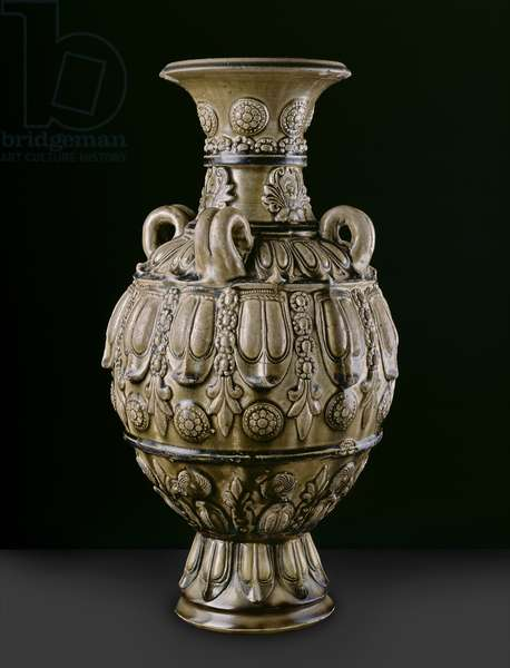 Greenware jar with moulded decorations, Yue Kikn-site, Six Dynasties Period (ceramic)