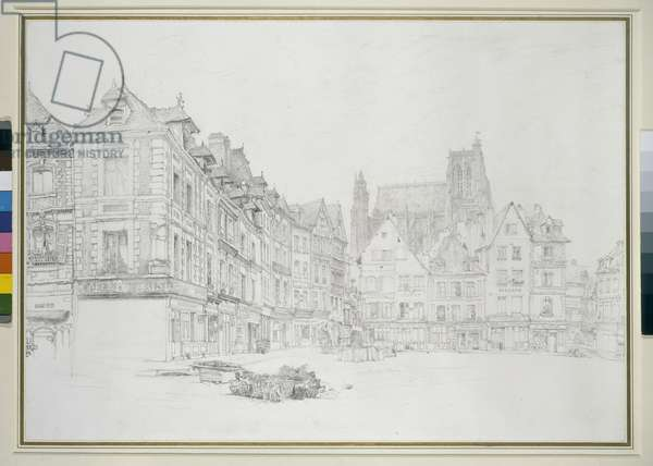 Study for Detail of the Market-Place, Abbeville, September - October 1868 (graphite on off-white paper)