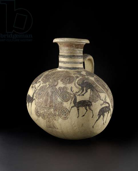 Cypriot Barrel jug depicting birds and deer, 7th-6th century (pottery)