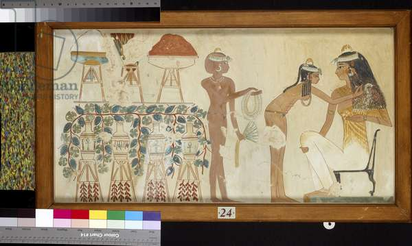 Copy of wall painting from private tomb 38 of Djeserkeresonb, Thebes (I, 1, 69-70) woman performing toilet (tempera mounted on card)