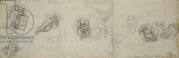 Study of Apostles, c.1550-55 (black chalk on paper)