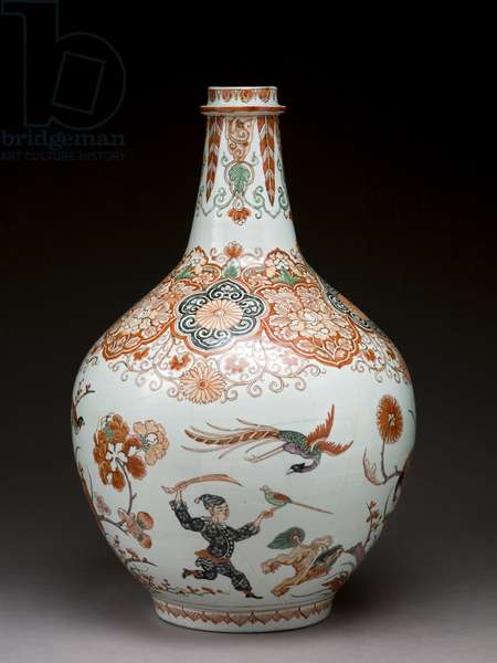 Large bottle vase, decorated in Holland in the Imari style, Ko-Imari, late 17th century (earthenware with enamel overglaze)