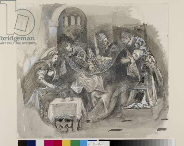 """Drawing of Tintoretto's """"Circumcision"""" in the Scuola Grande di San Rocco, August 1869 (graphite, watercolour and bodycolour on wove paper)"""