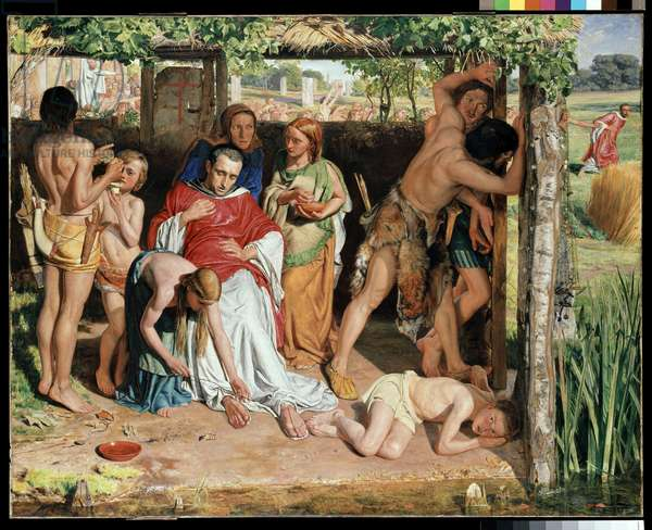 A converted British Family sheltering a Christian Missionary from the Persecution of the Druids, 1850 (oil on canvas)