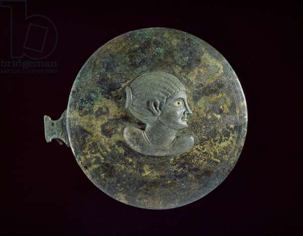 Cast bronze mirror-cover with Hellenistic bust of a woman in relief, 100 BC - 100 AD (cast bronze with incised decoration)