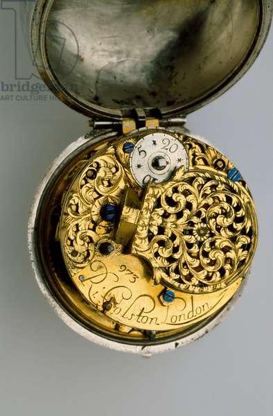 Interior of a pair-cased verge watch, c.1685 (silver & brass)