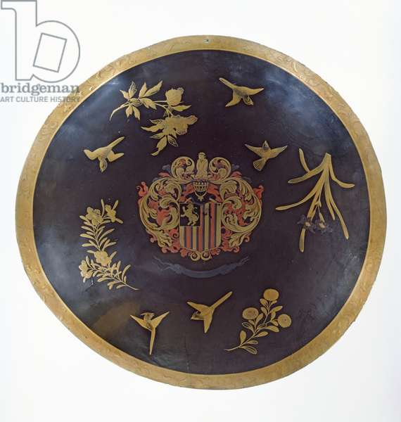 Shield depicting the armorial bearings of Constantijn Ranst, for the Dutch East India Company, made in Bengal and Lacquered in Japan, c.1668 (lacquered leather)