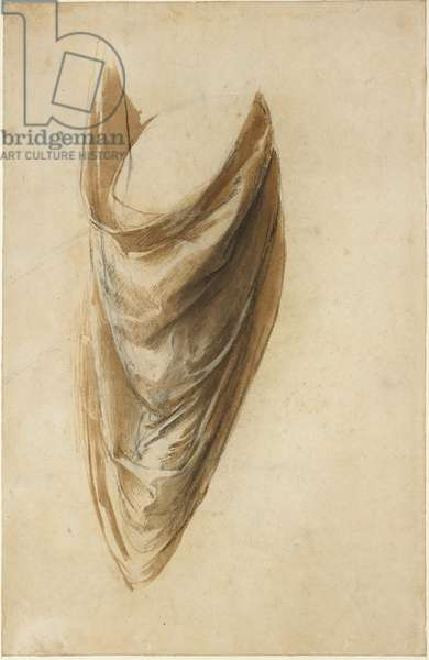 Recto: Study of Drapery for a standing Figure (Study for the Disputa), WA1846.185 (brush and light brown wash with black chalk and white heightening)