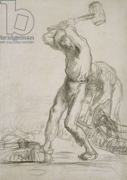 Two Peasants sawing and splitting Wood (black chalk on paper)