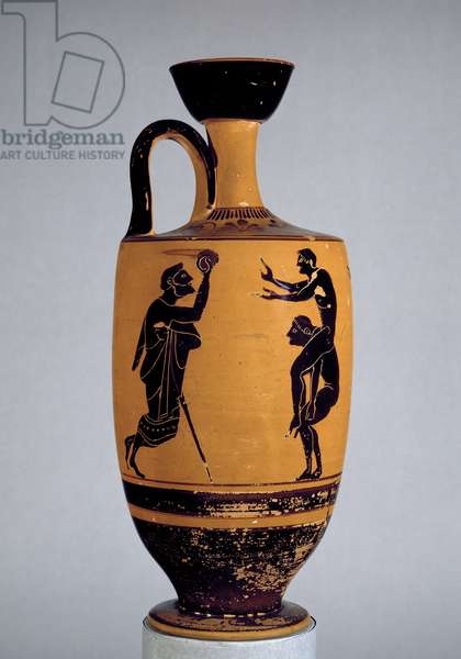 Attic black-figure lekythos decorated with an old man throwing a ball to a youth, c.500 BC (ceramic)