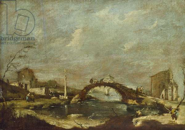 Capriccio Landscape (oil on panel)
