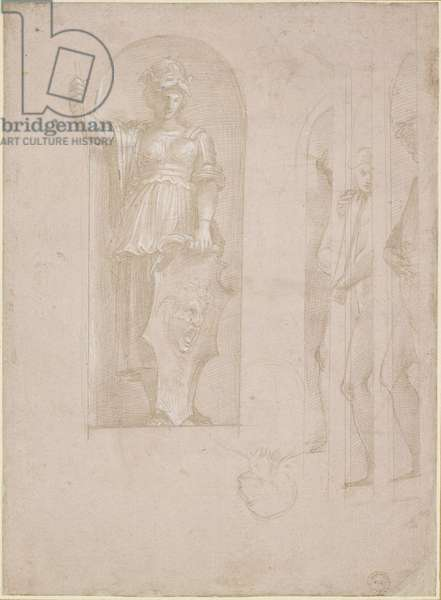 Studies for a figure of Minerva and other statues (Study for the School of Athens), WA1846.192 (metalpoint with white heightening on pink prepared paper)
