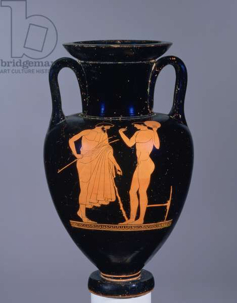 Attic red-figure amphora depicting elderly bearded male and a youth, probably 6th century BC (pottery)