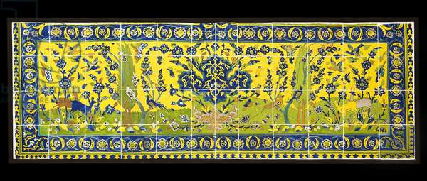 Tiles depicting a natural scene, from Isfahan, Iran, probably c.17th century (earthenware with polychrome under glaze)