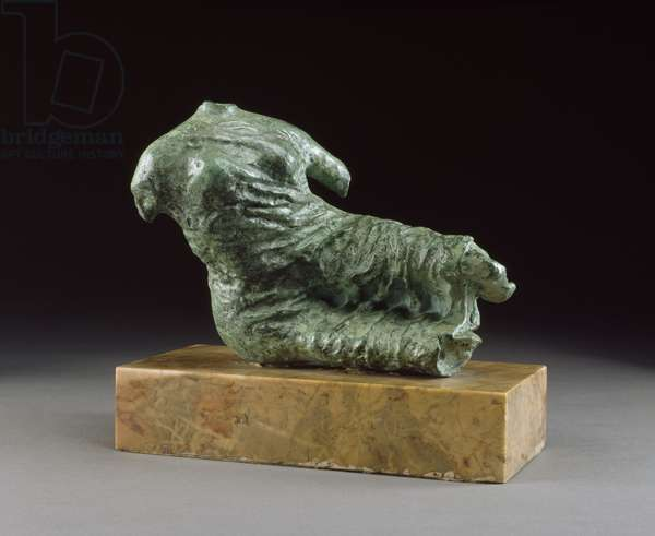 Fragment Figure / Reclining Female Figure, 1957 (bronze, patinated green, Siena marble base)