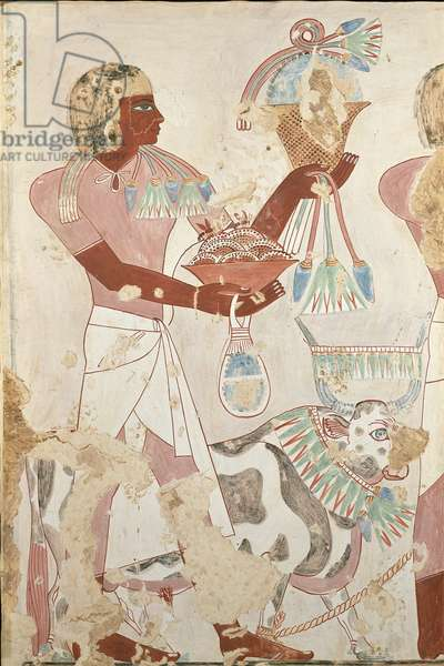 Copy of an Egyptian tomb painting of a servant with offerings (egg tempera on panel)