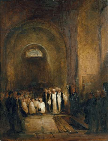 Turner's Burial in the Crypt of St. Paul's Cathedral, London, 19th century (oil on millboard)