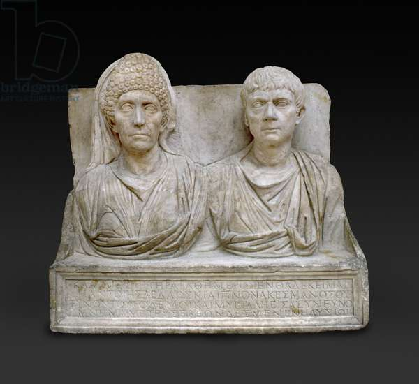 Tombstone of Claudius Agathemorus and his wife, Rome, late 1st century/early 2nd century (marble)