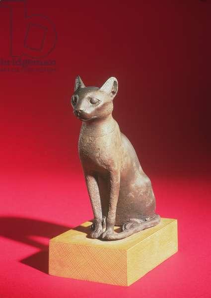 Cat, possibly Saite period, c.664-610 BC (bronze)