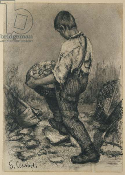 Young Stone Breaker, c. 1864 - 1865 (black crayon on thin off-white wove paper)