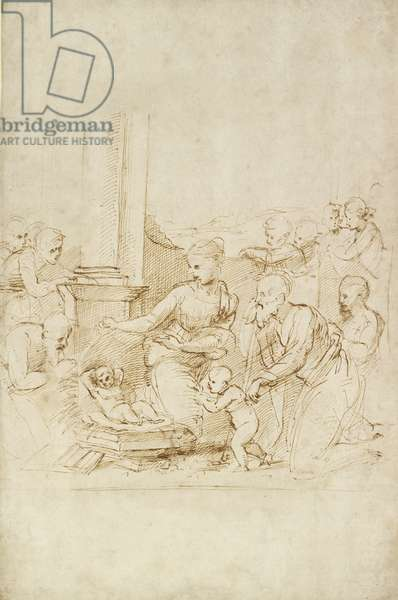The Adoration of the Shepherds, WA1846.205 (pen & brown ink on white paper)