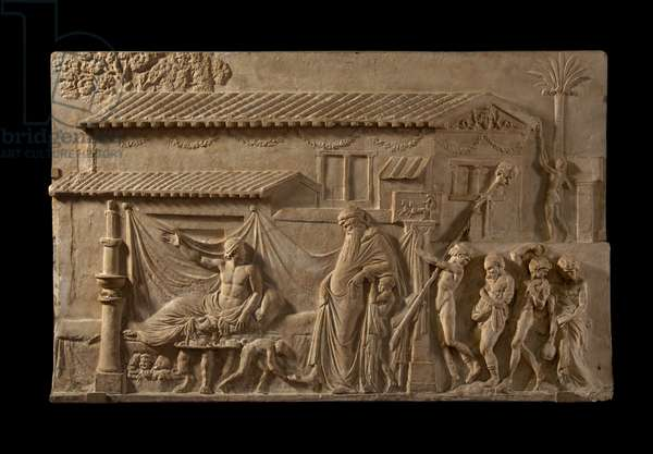Cast of relief with Dionysos visiting a poet, Rome, original dated 1st century AD (plaster)